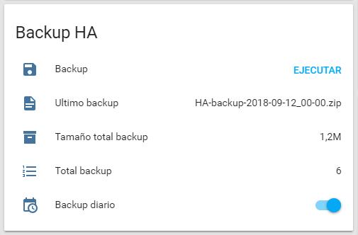 Tarjeta Backup HA en Homeassistant